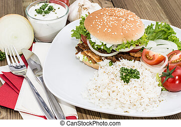 Kebab Burger with Rice