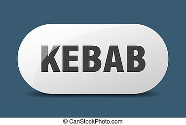 kebab button. sticker. banner. rounded glass sign - kebab ...