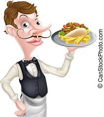 kebab, cameriere, frigge, presa a terra, maggiordomo, cartone animato
