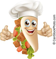Kebab Chef Man - A cartoon souvlaki kebab chef character...