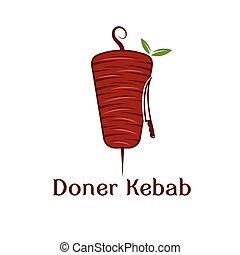 kebab, doner, liście, wektor, projektować, szablon, nóż