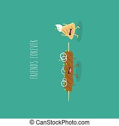kebab flatbread funny friends forever. Vector illustration...