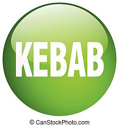 kebab green round gel isolated push button