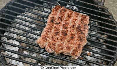 Kebab grilling, barbecue at Balkan - Barbecue preparing, ...