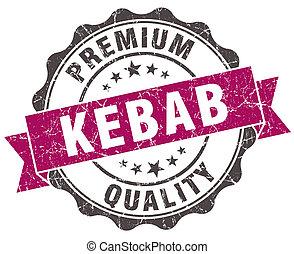 kebab grunge violet seal isolated on white