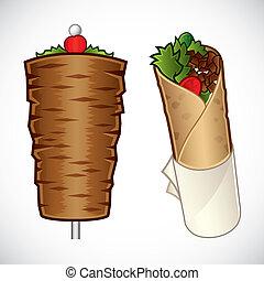 Vector illustration of d?ner kebab and a kebab roll