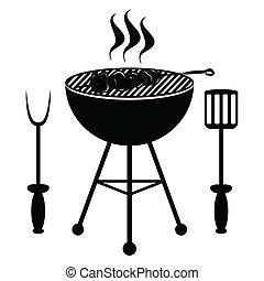 kebab, ligado, a, grade barbecue