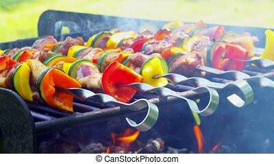 Kebab roasted on coals barbecue wood charcoal