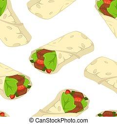 kebab, shaverma, cibo, modello, seamless, digiuno, vettore,...