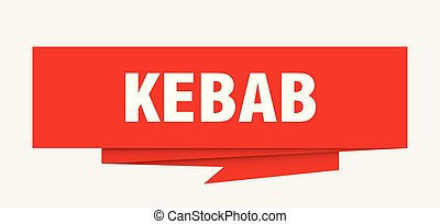 kebab sign. kebab paper origami speech bubble. kebab tag. ...