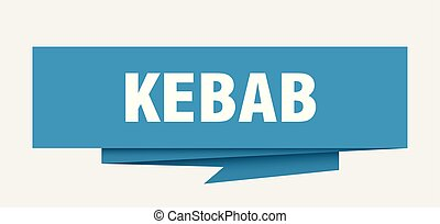 kebab sign. kebab paper origami speech bubble. kebab tag....