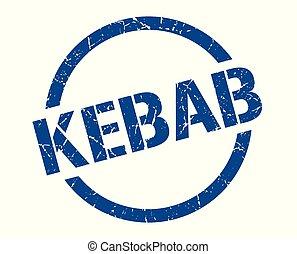 kebab stamp - kebab blue round stamp