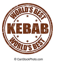 Kebab stamp - Kebab grunge rubber stamp on white background,...