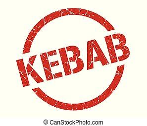kebab stamp - kebab red round stamp