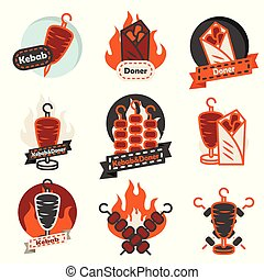 Kebab street food labels for fast food restaurants menu.