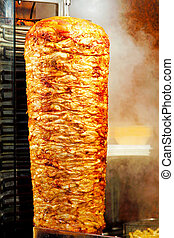 Kebab - Traditional oriental cuisine giros meat at grill