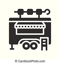 Kebab truck vector, Food truck solid style icon