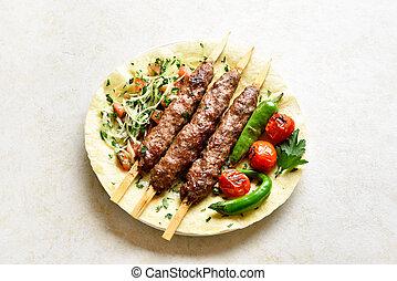 kebab, vegetales, fresco, adana, flatbread