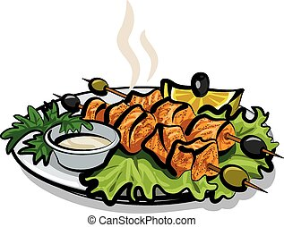 kebab with salmon