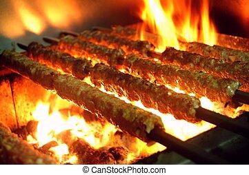 kebabs, barbecue, kofta, shish
