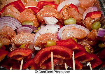 Kebab refers to a variety of meat dishes in Persian Turkish, Caucasian, Central Asian, South Asian and some of the African cuisines, consisting of grilled or broiled meats on a skewer or stick.