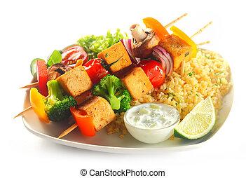 kebabs, rijst, tofu, mosterd, flavored