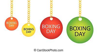 kedja, boxning, etikett, holdingen, cirkel, dag, goldenl