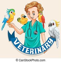 kedvenc, állatot megvizsgál, állatorvos, madarak, aláír