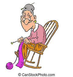 kedves, öregedő, nagyanyó