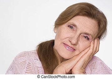 kedves, öregedő woman