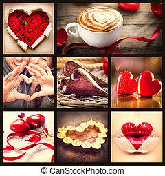 kedves, collage., valentines nap, piros, művészet, tervezés