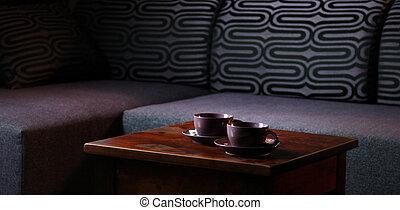 kedves, fénykép, közül, asztal, noha, két, csészék