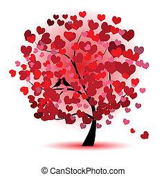 kedves, fa, szeret, levél növényen, alapján, piros