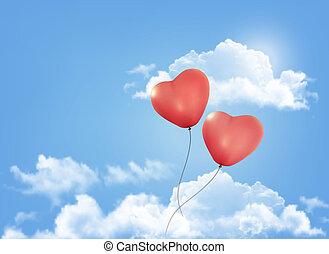 kedves, heart-shaped, baloons, alatt, egy, kék ég, noha, clouds., vektor, háttér