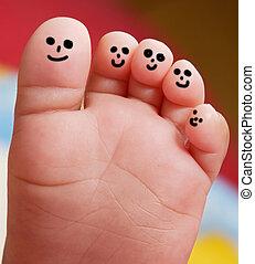 kedves, lábfej, közül, egy, csecsemő