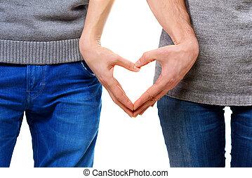 kedves, párosít, szerelemben, kiállítás, szív, noha, -eik, ujjak