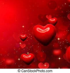 kedves, piros, háttér., valentines, piros, elvont, tapéta