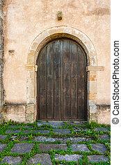 kedves, vidéki, épület, antik, ajtó