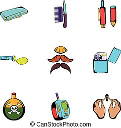 Keeker icons set, cartoon style - Keeker icons set. Cartoon...