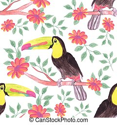 Keel billed Toucan bird or Ramphastidae sulfuratus bird seamless watercolor birds and flowers background