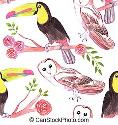 Keel billed toucans and barn owls and flowers seamless ...