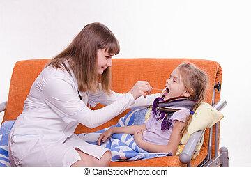keel, kinderarts, blik, ziek kind
