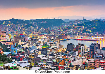 keelung, taiwan, cityscape, et, temples