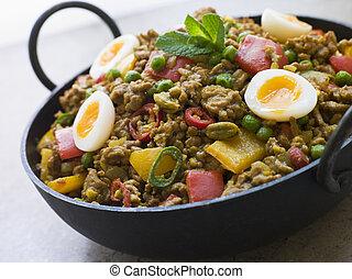 keema, karahi, punjabi, mattar, piatto, pietanza, quaglia, uova