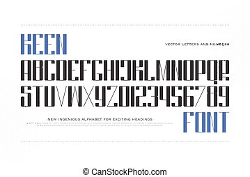 keen font - accented style alphabet letters and numbers...