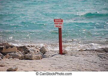 Keep Away - Dangerous area on a beach in the Bahamas