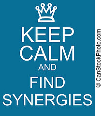 Keep Calm and Find Synergies Blue Sign making a great...