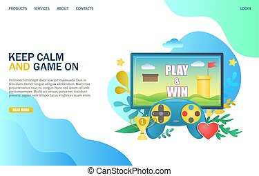Keep calm and game on vector website landing page design template