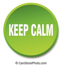 keep calm green round flat isolated push button
