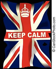 Keep Calm crown poster with Union Jack Flag